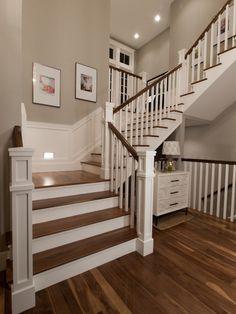 Wonderful Elegant Family Home Design: Striking Details Houndstooth Residence Interior Fancy Wooden Staircase