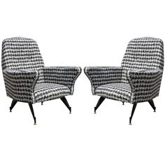 Sculptural Pair of Small-Scale Italian Lounge Chairs | From a unique collection of antique and modern lounge chairs at https://www.1stdibs.com/furniture/seating/lounge-chairs/