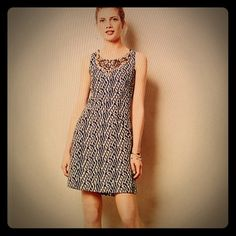 """Anthropologie """"Mulberry Road"""" beaded dress With a beautifully beaded necklace, the Jacquard sheath dress from Moullinette Soeurs is a daydream of a dress. Back zip.  Polyester, rayon. Bust 35.5 """", length 32.5 """" from shoulder Anthropologie Dresses"""
