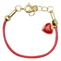 "Red Enamel Heart 18k Yellow Gold Plated Red Cord Girls Teens Kids Bracelet 5"" with 1"" Extension Kids Jewelry USA. $9.31. Free Jewelry Pouch Included. 18k Yellow Gold Plated. Red Enamel. 5"" Length with 1"" Extension"