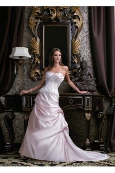 Satin Strapless Sweetheart Hand-Beaded Bodice A-line Wedding Dress