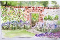 Watercolor art journal - Secret garden wall - http://www.violetcottage.com/blog/2014/08/04/art-journal-101/