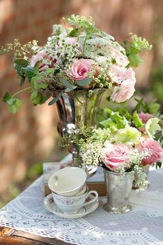 Tea, Flowers and Silver... perfect! ~ Ana Rosa