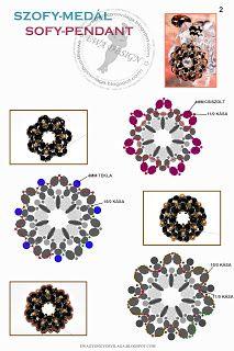 Ewa gyöngyös világa!: Szofy medál minta / Sofy pendant pattern 2