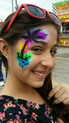 Rainbow with silhouette Eye Face Painting, Adult Face Painting, Face Painting Stencils, Face Painting Designs, Paint Designs, Face Art, Face Paintings, Cool Face Paint, Professional Face Paint