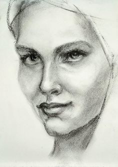 Portrait study in charcoal on cardboard. Art Studies, Learn To Paint, Graphite, Pencil Drawings, Colored Pencils, Jewelry Art, Graphic Art, Charcoal, Study