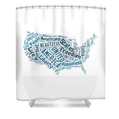 United States Of America Map Art Shower Curtain.