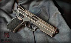 CZ-75 SP-01 Shadow we just finished in Cerakote Tungsten H-237 and Graphite Black H-146