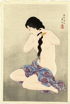 A woodblock print by Natori Shunsen, Combing her Hair, at Scholten Japanese Art. Japanese Painting, Japanese Prints, Geisha Kunst, Geisha Art, Japan Illustration, Vintage Art Prints, Fine Art Prints, Toledo Museum Of Art, Art History