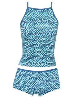 acd1cc9d04542 M Co Teen Girl Scale Print Square Neck Spaghetti Strap Mermaid Style  Tankini Two Piece Swim Set