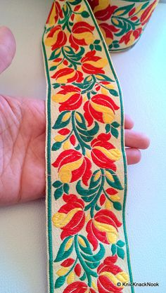 Beige Fabric Trim With Floral Embroidery Yellow by KnicKnackNook