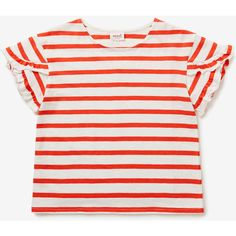 Stripe Frill Tee (25 CAD) ❤ liked on Polyvore featuring tops, t-