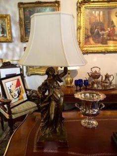 """Important Bronze Figure Wired Into Lamp   33"""" Tall   Dealer #146  Lost. . .Antiques 1201 N. Riverfront Blvd. Dallas, TX 75207  Monday - Saturday: 10am - 5pm Sunday 11am - 5pm  Find it all"""