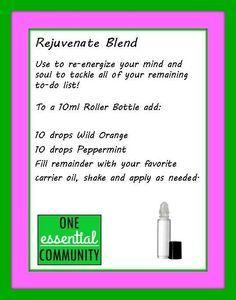 rejuvenate essential oil blend-- Great DIY roller bottle workshop ideas!