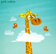 The thing I really like about this piece of imagery is the way it move exaggerate the height of the giraffe. This shows children that giraffes have really long necks. Giraffe Illustration, Children's Book Illustration, Animal Drawings, Art Drawings, Giraffe Art, Giraffe Head, Star Painting, Funny Art, Art For Kids