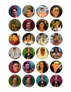Free printable bottle cap images Frida Kahlo 1.5 inch