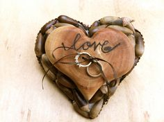 rustic country fall wedding decor | Rustic wedding ring bearer pillow heart country unique fall winter ...