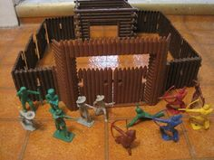 MARX COHN TIM MEE FORT APACHE PLAYSET 6 PIONEER COWBOY 6 INDIAN 60MM TOY SOLDIER #TCOHNTIMMEEJHOEFFLER