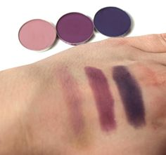 Laura Hitchen loves Makeup Geek! Shown here are swatches (left to right) of Makeup Geek Eyeshadows in: Petal Pusher, Curfew, and Motown.