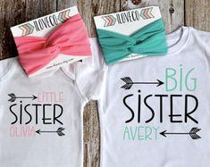 Items similar to Big Sister Baby Sister Outfit / Headbands Optional / Big Sister Little Sister Set on Etsy Big Sister T Shirt, Big Sister Little Sister, Big Sister Gifts, Sister Shirts, Baby Sister, Little Sisters, Lila Baby, Baby Love, Sibling Shirts