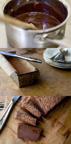 No Bake Chocolate Cake        butter, to grease pan  8 ounces / 225 g 70% chocolate, well chopped  8 ounces / 225 g heavy cream  1/2 teaspoon allspice (optional)  2 teaspoons finely ground espresso (optional)  1/4 teaspoon fine grain salt  cocoa powder, to serve