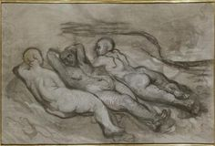 Study of three naked women lying at the foot of a cliff - Honore Daumier