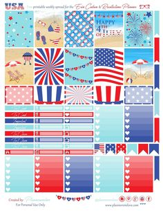 Free 4th of July Printable Planner Stickers from Planner Onelove
