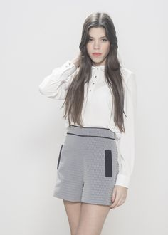 """Grey Jaquard Contrast Shorts  Material: 72% Cotton 20% Polyester 8% Several Model wears UK size 8 and her height is 5'7"""""""