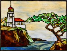 """Lighthouse Stained Glass Panel 26""""x19 5"""" 