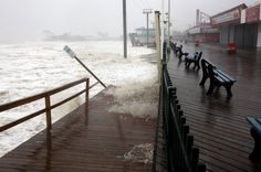 Waves from Hurricane Sandy pound the Seaside Heights Boardwalk on Monday, October 29, 2012. (David Gard/The Star-Ledger).