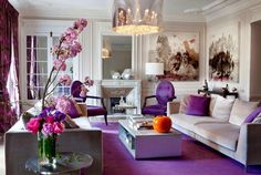 Stunning Transitional style beige living room decor with purple accent and purple decor, elegant luxury living room decor purple decor purple sofa, orchid decor Purple Living Room Furniture, Plum Living Rooms, My Living Room, Living Room Decor Inspiration, Living Room Decor Cozy, Elegant Home Decor, Elegant Homes, Décor Violet, Salons Violet