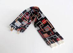 Beaded Black Red White and Grey Bracelet, Toho Treasure Beads Bracelet, Geometric Cuff Bracelet, Square Pattern Bracelet, Designer Beadwork