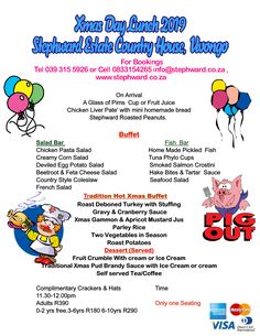 Stephward Estate Christmas Lunch has become a tradition for the last 20 years! This year will be no exception. Please book early to avoid dissapointment. We have to turn away so many family's each year. Christmas Lunch, Books Online, South Africa, How To Become, Coast, Posters, 20 Years, Restaurant, Poster