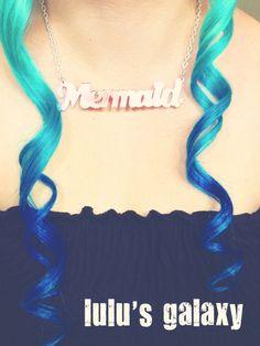 "MERMAID HAIR royal blue/ teal ombre/18"" long human hair extension/ clip-in hair/ dip dye ombre (2) hair extensions. $24.00, via Etsy."
