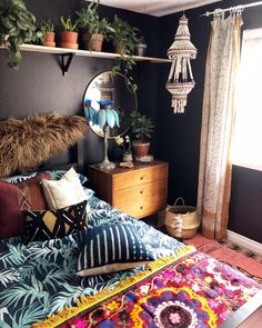 The layers and layers of vintage textiles are what really create this space!!! And ... Gosh! I can't get over how much I LOVE my new plant…