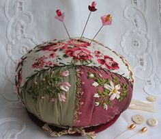 Victorian crazy quilt pincushion with ribbon embroidery.  #swoon