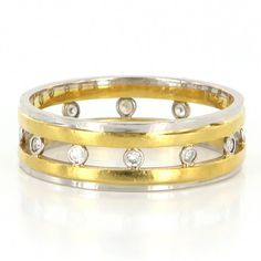 Vintage Platinum 18 karat Yellow Gold Diamond Eternity Wedding Band Ring 9.5 Estate Jewelry