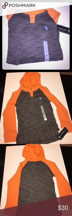 Kids Polo hooded long Sleeve New with tags, size 4, 60% cotton 40% polyester, Front pocket U.S. Polo Assn. Shirts & Tops