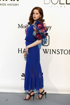 Ellie Bamber Evening Dress - Ellie Bamber was all abloom in a royal-blue Chanel Couture peplum dress with a matching flower-festooned bolero during the amfAR Cinema Against AIDS Gala.