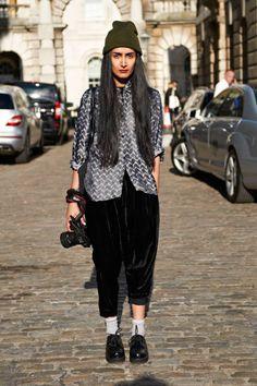 Nadia Sarwar  Occupation: Photographer  Skirt: H  Top: vintage  Shoes: eBay  #LFW