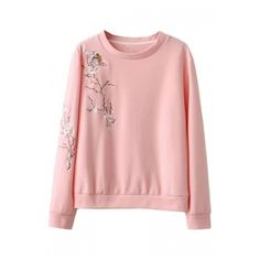 Chic Bird Floral Embroidery Round Neck Long Sleeve Sweatshirt ($35) ❤ liked on Polyvore featuring tops, hoodies, sweatshirts, long sleeve sweatshirt, flower print tops, cotton sweatshirts, floral print sweatshirt and floral tops
