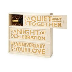 Three Nights Wine Box - ideas for wedding anniversary gifts Wedding Gifts For Bride And Groom, Wedding Gifts For Couples, Unique Wedding Gifts, Unique Weddings, Wedding Ideas, Trendy Wedding, Wedding Boxes, Post Wedding, Wedding Details