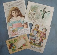 4 Antique Victorian Advertising Trade Cards by TinselandTrinkets