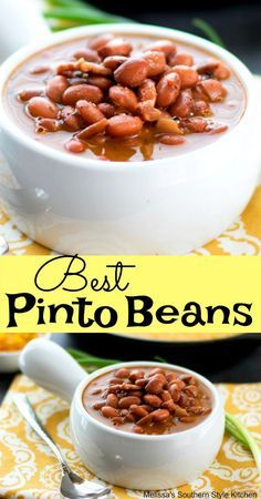 These kicked-up Best Pinto Beans make for a scrumptious budget friendly meal with hot buttered cornbread, chow chow and a little green onion for crunch. Southern Pinto Beans Recipe, Pinto Bean Recipes, Bean Soup Recipes, Beans Recipes, Dry Beans Recipe, Beans In Crockpot, Recipe For Dried Pinto Beans, Brown Beans Recipe, Pinto Beans And Rice