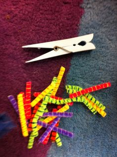 fine motor: bird eating worms - use a clothes pin to pick up pipe cleaners (great website with many more resources/ideas)