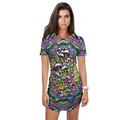FAR OUT FUNK Fitted Tee Dress Rave Clothing Store, Online Clothing Stores, Women's Clothing, Edm Outfits, Fashion Outfits, Hooded Blanket, Visionary Art, Tee Dress, Trance