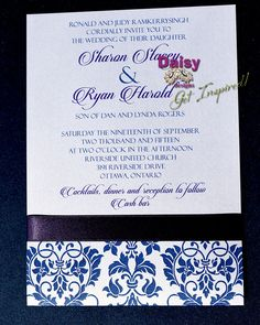 Our Plum Damask Wedding Invitations feature a bottom damask pattern wrapped with a matching satin ribbon. An optional back pocket design is available.