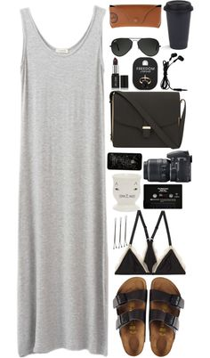 Untitled #1927 par wtf-towear utilisant Donna WilsonTank maxi dress / Monki bra, $21 / Birkenstock sandals / Victoria Beckham black shoulder...