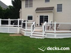 This customer wanted Privacy as the deck was raised higher then the fence Deck Pictures, Enclosed Porches, Building A Porch, Porch Steps, Deck Builders, New Deck, Deck Plans, House With Porch, Deck Design