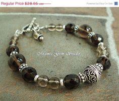 Smoky Quartz Bracelet, Artisan Metal, Handmade Bracelet with Gemstone~<3
